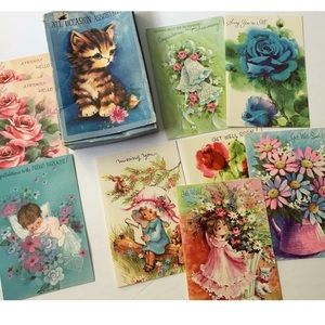 Vintage Greeting Cards Lot New Baby Get Well 60s